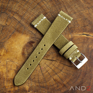 Chamonix Brass Leather Strap 19mm (White Cross Stitching)