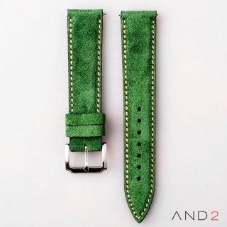 AND2 Kingsley Green Forest Suede Leather Strap (Beige Stitching)