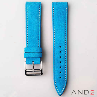 AND2 Italian Nubuck Blue Suede Leather Strap 20mm (White Stitch)