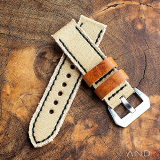 MILI Beige Canvas strap with Black Stitch