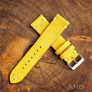 Wolly Irish Yellow Suede Leather Strap 20mm (White V-Stitching)