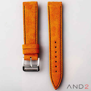 AND2 Italian Nubuck Orange Suede Leather Strap 20mm (Black Stitch)