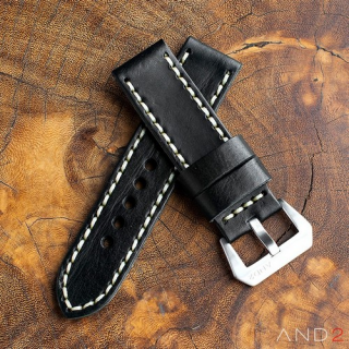 Douglas Nero Black Leather Strap 24mm