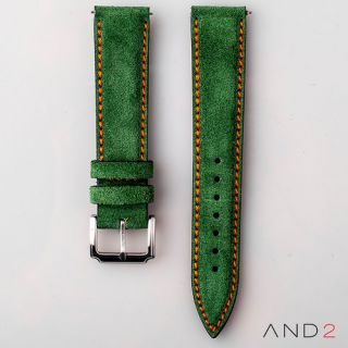 AND2 Kingsley Green Forest Suede Leather Strap (Orange Stitching)
