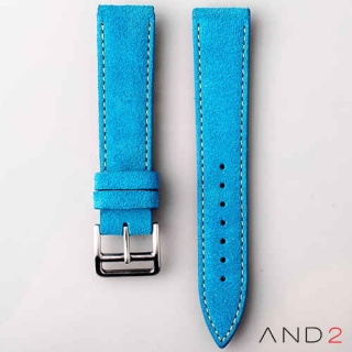 AND2 Italian Nubuck Blue Suede Leather Strap 20mm (Beige Stitch)