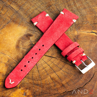Wolly Crimson Red Suede Leather Strap 22mm(White V-stiching)