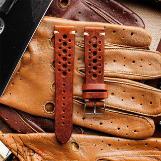 Speedy Racing Saddle Brown Leather Strap (Beige Stitching)