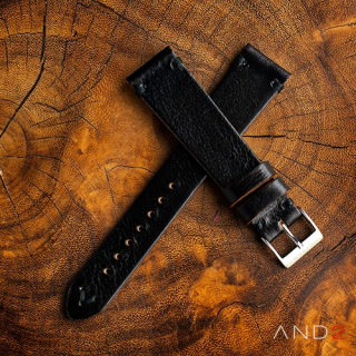 Laguna Black Mania Leather Strap 20mm (Black V-Stitching)