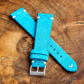 Wolly Sky Blue Suede Leather Strap 22mm(White V-Stitching)