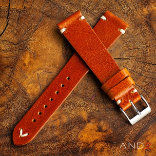 Laguna Medium Brown Leather Strap 19mm (White V-Stitching)