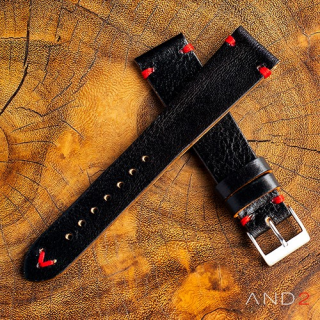 Laguna Diablo Black Leather Strap 20mm (Red V-Stitching)