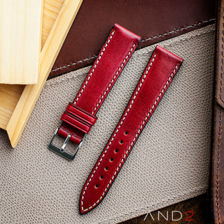 Kingsley Red Berry Leather Strap 19mm