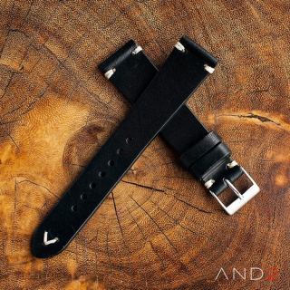 Laguna Black Leather Strap 20mm(White V-Stitch)