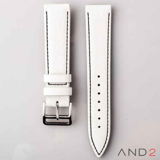AND2 Italian Nubuck White Leather Strap 20mm (Black Stitching)