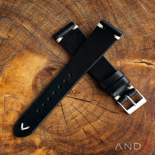 Laguna Black Leather Strap 22mm (White V-Stitch)