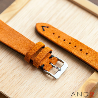 Wolly Orange Tangerine Suede Leather Strap 20mm(Black V-stitch)