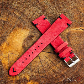 Wolly Crimson Red Suede Leather Strap 22mm(Black V-stiching)