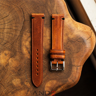 Speedy Cognac Leather Strap Black Stitching