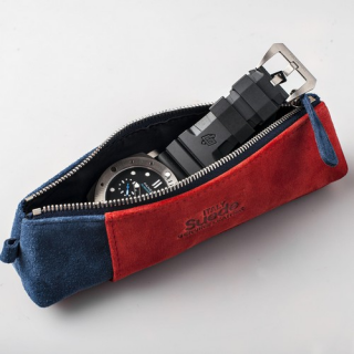 AND2 Watch Case Blue/Red Suede Combo