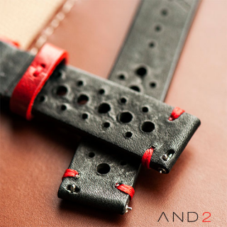Speedy Racing Red Loop Leather Strap (Red Stitching)