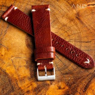 Laguna Night Brown Leather Strap 22mm(White V-Stitiching)