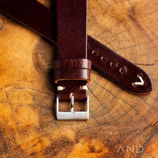 Laguna Night Brown Leather Strap 20mm (White V-Stitching)