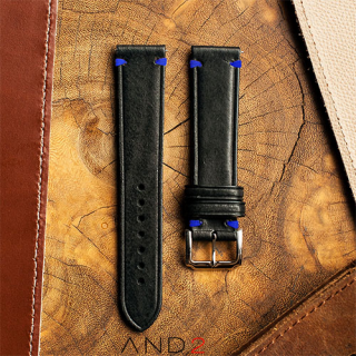 Speedy Black Leather Strap Blue Stitching