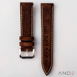 AND2 Kingsley Brown Suede Leather Strap (Beige Stitch)