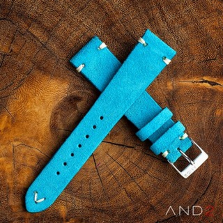 Wolly Sky Blue Suede Leather Strap 19mm (White V-Stitching)