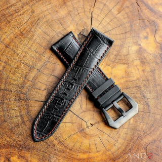 Calf Croco Black Rubber (Dark Orange Stitching)