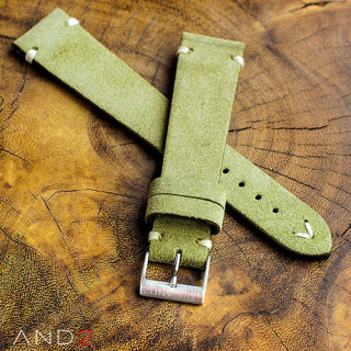 Wolly Olive Green Suede Leather Strap 19mm (White V-Stitching)