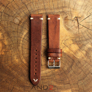 Laguna Chesnut Leather Strap With Easy Spring Bar 20mm (V-Beige Stitch)