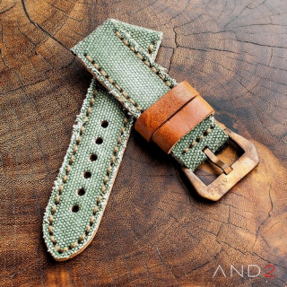 MILI Green Canvas Strap With Bronze Buckle