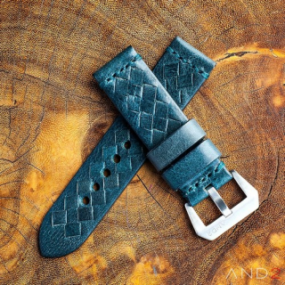 Braided Douglas Blue Leather Strap with Matching Stich