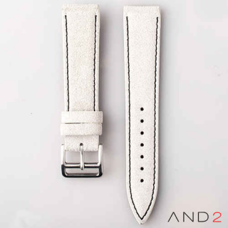 AND2 Italian Nubuck White Suede Leather Strap 20mm (Black Stitching)