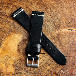 Laguna Black Leather Strap 20mm(White Cross Stitching)