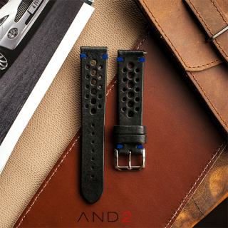 Speedy Racing Blackout Leather Strap (Blue Stitching)