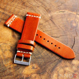 Laguna Medium Brown Leather Strap 22mm(White Cross Stitching)