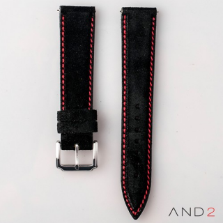 AND2 Kingsley Black Suede Leather Strap (Red Stitch)