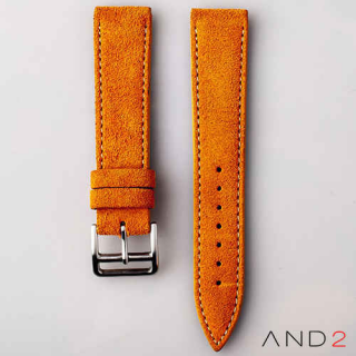 AND2 Italian Nubuck Orange Suede Leather Strap 20mm (Beige Stitch)