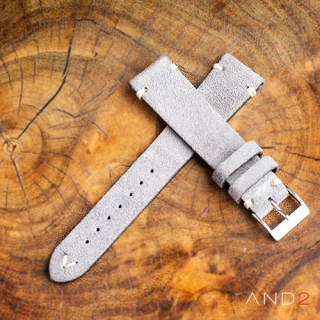 Wolly Sky Grey Suede Leather Strap 19mm (White V-Stitching)