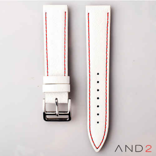 AND2 Italian Nubuck White Leather Strap 20mm (Red Stitching)