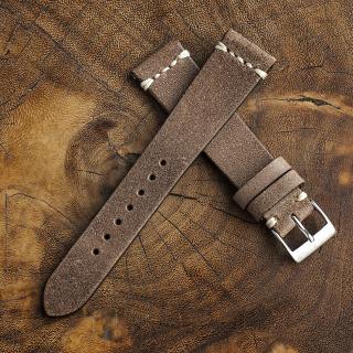 Chamonix Burly Leather Strap 20mm (White Cross Stitching)