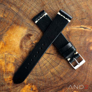Laguna Black Leather Strap 19mm (White Cross Stitching)