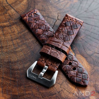 Braided Dark Brown Leather Strap with Matching Stich
