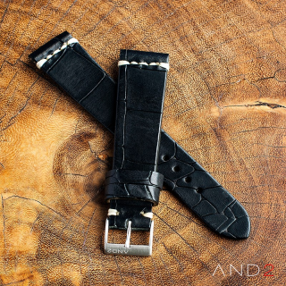 Vintage Cracked Croco Black Leather Strap 22mm(White Cross Stitching)