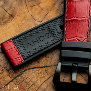 Calf Red Croco with Black Stitching