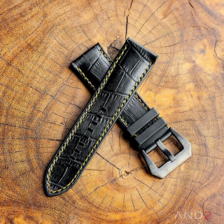 Calf Croco Black Rubber (Yellow Stitching)